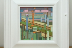 COASTLINE AT BARTON-ON-SEA [SOLD]. 27cm x 27cm inc. frame.
