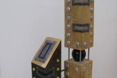 OPPOSITE VIEWS 2 [SOLD]. Wood, metal and glass. 64 cm tall.