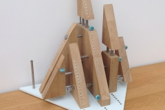SAILBOATS. Oak, Glass, Metal and Ceramic. 50 cm tall.