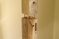 3 STORIES [SOLD]. Oak, glass, stone and metal. Height 35 inches.