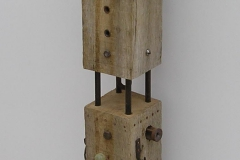 WATCHTOWER [SOLD]. Oak, glass and metal. Height 35 inches.