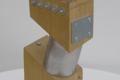 WARHEAD [SOLD]. Wood, galvanised metal, steel and glass. Height 13 inches. Swivelling head.
