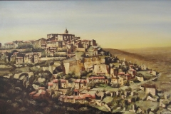 GORDES, PROVENCE. Oil painting on board 30 x 20 inches.