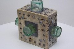 LOCKED IN No 2. Wood, glass & metal. 9 x 8 inches.