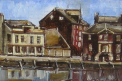 POOLE QUAY oil sketch on panel. 8 x 4 inches.