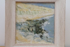 CLIFFS AND ROCKS AT BARTON-ON-SEA [SOLD]. Oil sketch no.1.