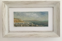 Isle of Wight from Barton on Sea [SOLD]. Oil Painting. 20cm x 9cm.