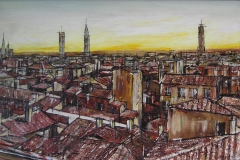 FLORENCE ROOFTOPS [SOLD]. Oil on canvas 30 x 16 inches.