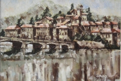 PONTE TRESA, ITALY [SOLD]. Oil sketch on board 12 x 10 inches.