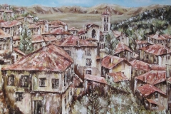 YUGOSLAVIAN VILLAGE. Oil painting on canvas 24 x 20 inches.