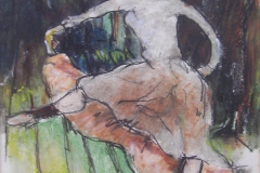 FIGURE (after Lautrec) [SOLD]. Soft Pastels. 9 x 7 inches.