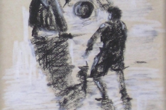 CHILDREN PLAYING BALL [SOLD]. Charcoal Sketch. 7 x 4 inches.