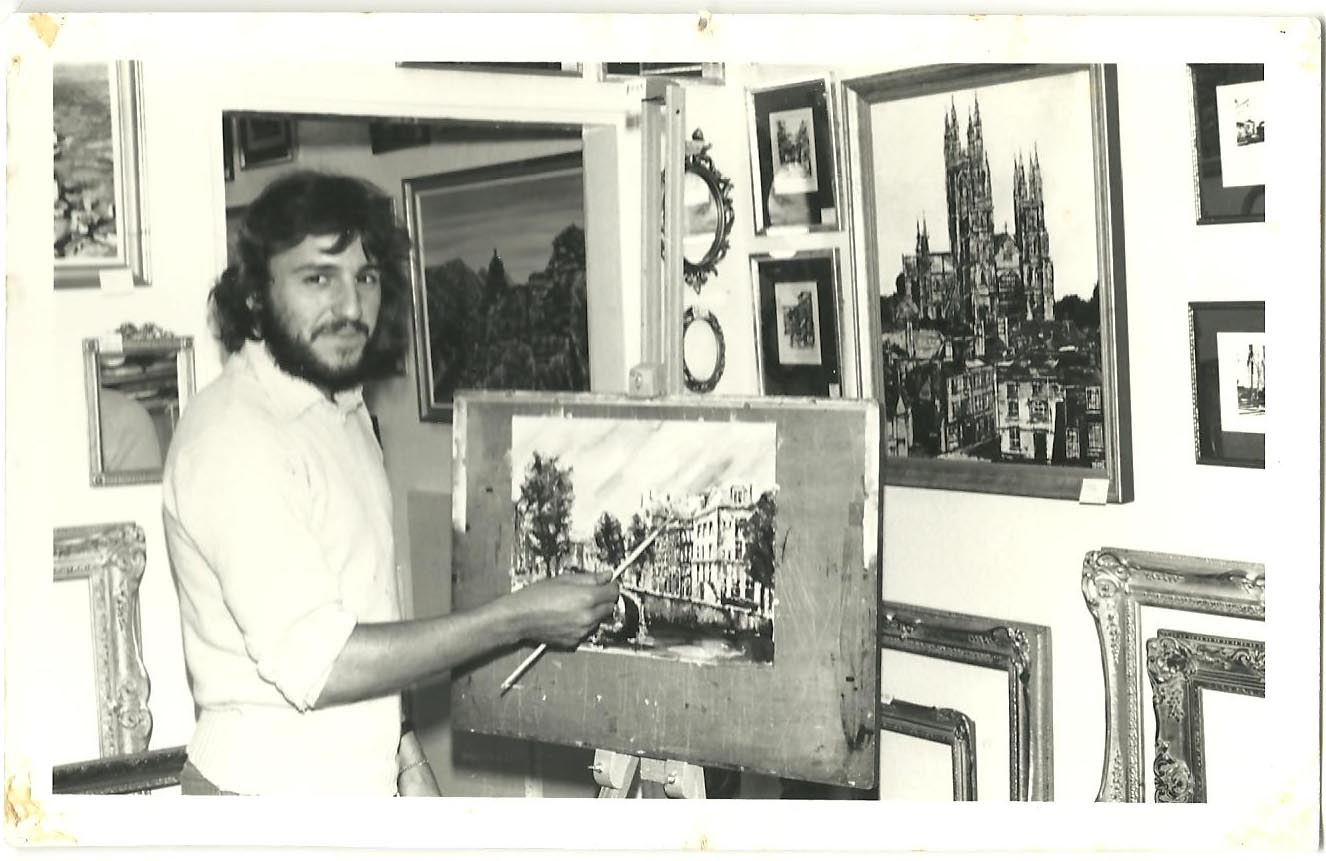 Jon working in his studio, 1977.